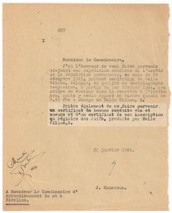 une page du Registre des Juifs